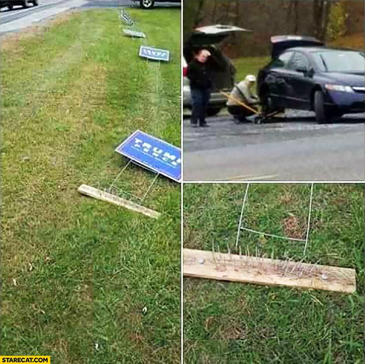 donald-trump-signs-ran-over-fail-nails-punctured-car-tires.jpg